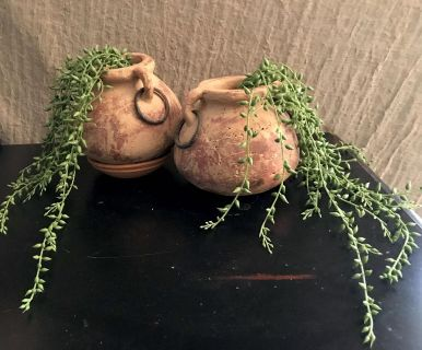 Cute Small Clay Pots. Metal Rings on Sides 6 tall by 5 $20 for Both