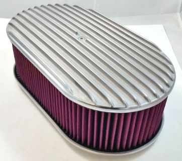 """Buy 15"""" x 4"""" Oval Polished Aluminum Full Finned Air Cleaner W/ Washable Filter 4 Brl motorcycle in Chatsworth, California, United States, for US $79.99"""