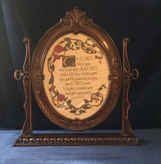 Vintage Victorian Oval Frame on Swivel Stand with Scripture