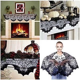 BRAND NEW! Halloween Spider Bats Lace Mantle Scarf