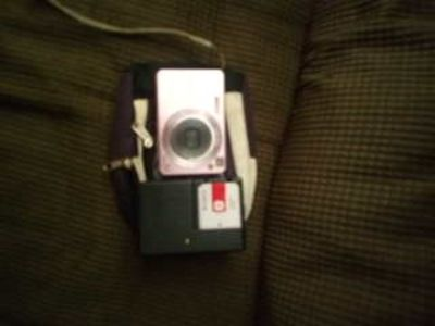 , rechargeable pink camera with carrier