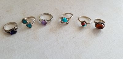 Sterling silver ring lot of 6