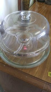Glass Cake and 2 glass serving trays