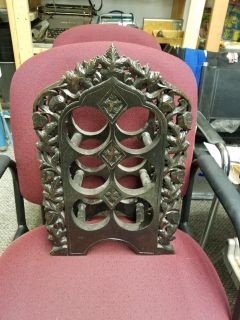 Ornate Gothic carved wood 6 bottle wine rack