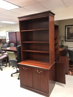 Commercial Quality Trad Cherry Wood Open Bookcase over double touch latch door bookcase base