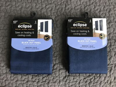 Navy blue blackout curtain panels