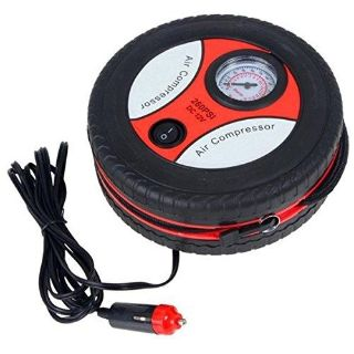 Portable 12V Air Compressor Pump Tire Inflator with 3 Adapters