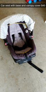 Graco carseat, base, and canopy cover