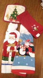 Christmas towels and pot holder lot