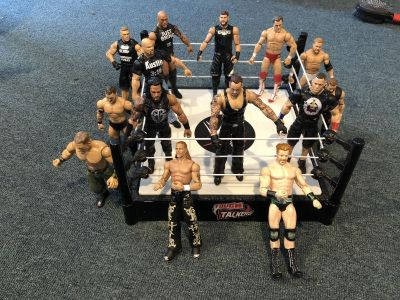 EUC WWE tough talkers ring and figures.