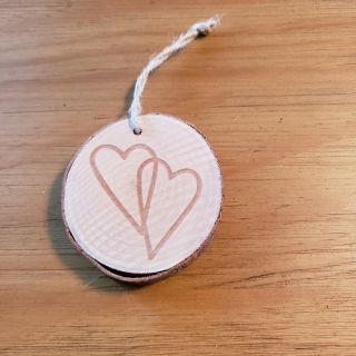 Wood heart hanger