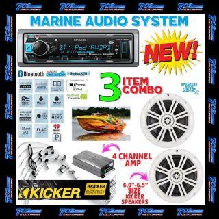 Sell KENWOOD MARINE BOAT BT USB AUX MP3 RADIO + 2 X KICKER MARINE SPEAKERS + 600W AMP motorcycle in Las Vegas, Nevada, United States, for US $359.99