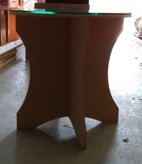 Round Particle Board Table with Glass Top