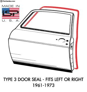 New Type 3 Door Seal 1961-1973 USA Made