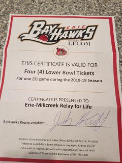 Bayhawks tickets 4 lower bowl tickets for one 2018-2019 game