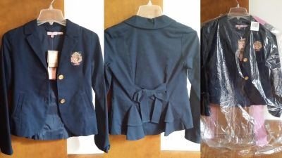 *NEW* TEEN JUICY COUTURE SIZE 14 NAVY REGAL BLAZER WITH CREST