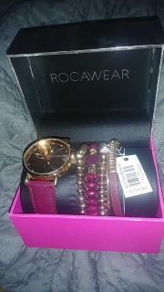 Rocawear womens watch and bracelet gift set.