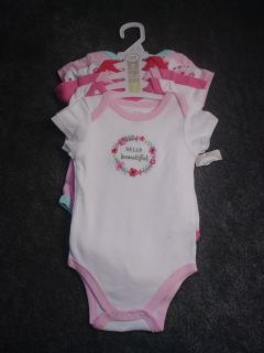 NEW NWT Luvable Friends 5 bodysuits size 6-9 months short sleeve PICK UP ONLY RV $13