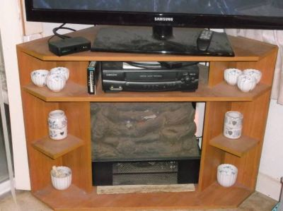 110v. Electric Logs in Corner TV Stand
