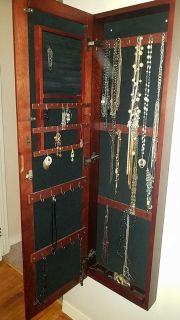 High quality wooden jewelry organizer with full length mirror!