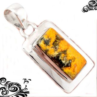 New - Dainty Bumble Bee Gemstone 925 Sterling Silver Pendant (Includes a chain)