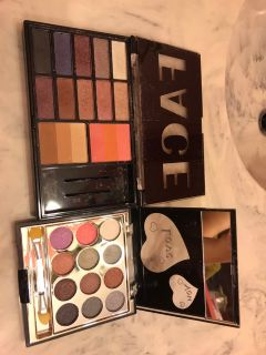 Face eyeshadow palette barely used and Love eyeshadow palette that it has never been used. Both for $2!