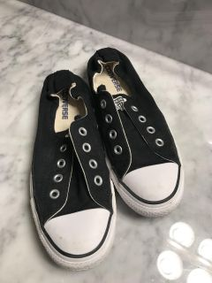 Converse Black and White Slide Ons