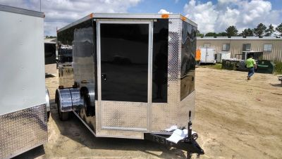 7x12 SA Enclosed Cargo Trailer Door in V-nose Black