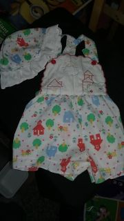 Adorable romper with matching bonnet
