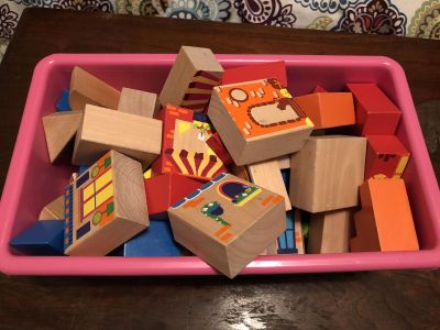 Lot of wooden blocks. Makes a town set up