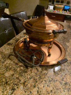 ANTIQUE 1906 chafing dish with matching platter