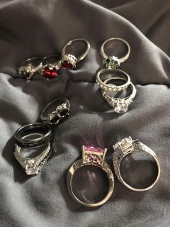 Sterling silver rings 11 pieces