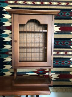 Vintage Solid Wood Hanging Cabinet with Wire Front