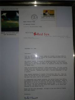 Boston Red Sox, 100 years of Baseball 1stday of issue stamp& letter by General Mgr