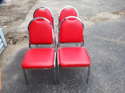 12 RED NAUGAHYDE & CHROME STACKABLE CHAIRS - WILL DIVIDE