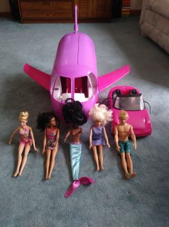 5 Barbies Ken Red Car Airplane 8 Pieces total