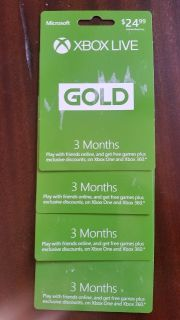 Xbox live Gold Cards 3 months