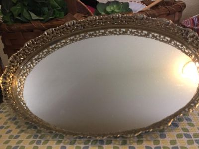 Vintage MCM Oval Mirrored Dresser Tray