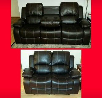 New Brown Leather Reclining Sofa/Loveseat