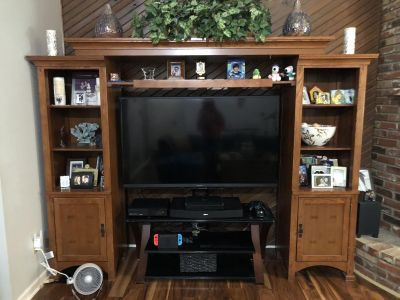 Wooden Bridge with TV Stand