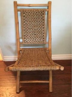 Rattan and Bamboo Folding Chair