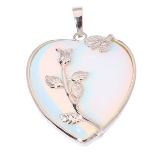 New - White Heart with Rose Overlay Pendant (Includes a chain)