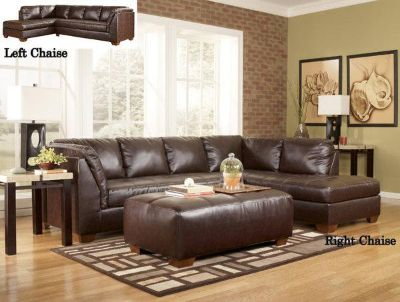 $829, NEW 2 Pc. DuraBlend Mahogany Sectional Set by Ashley Furniture