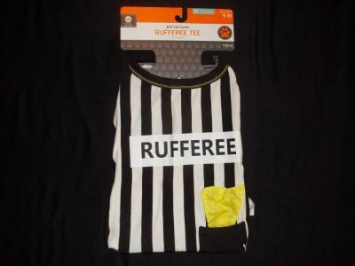 "NWT FOOTBALL DOG ""RUFFEREE"" BLACK & WHITE TEE YELLOW FLAG sz M 50 lbs"