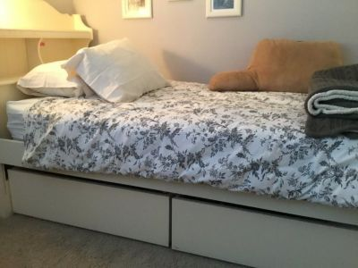 Child s twin bed with two storage drawers