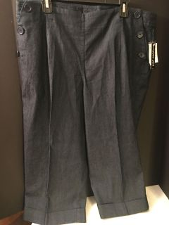 NWT! NEW DIRECTIONS DENIM CROPPED PANTS LADIES SIZE 18W
