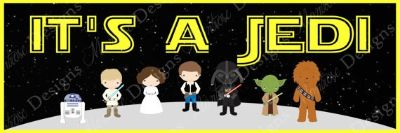 "Star Wars ""It's A Jedi"" 2x6 Foot Poster for Baby Shower"