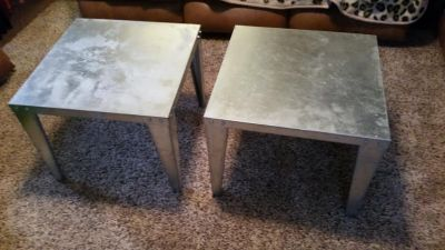 Contemporary Metal Construction 2 Piece End Table Set