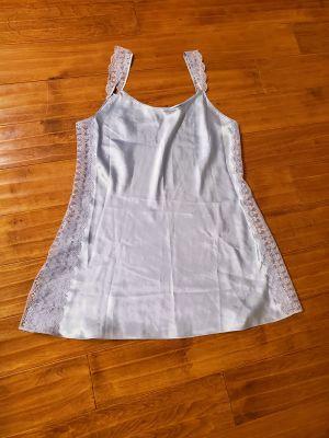Sleepwear sz L, blue/periwinkle lace, 100% poly GUC