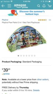 Paw patrol bed tent!